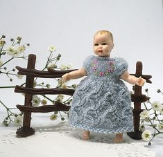 Heidi Ott doll clothes miniature dress with flowers, baby doll clothes for 2.7 inches doll, Dollhouse miniature dress, mini doll outfit