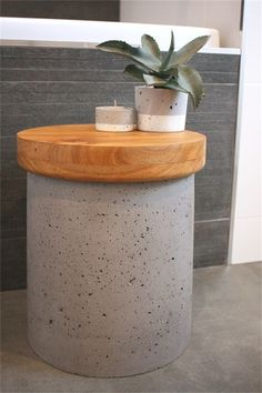 Concrete side table/stool, bath sidetable, timber top, storage inside