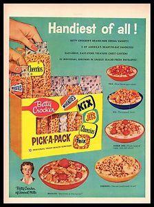 vintage cereal ad | 1956 Vintage Ad Betty Crocker 039 Pick A Pack 039 Cereal Breakfast ...