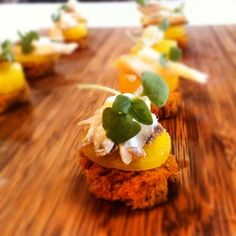 Smoked Trout Crostini, Golden Beet, Horseradish Creme Fraiche and Micro Arugula #food #catering