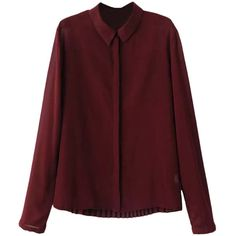 Blackfive Turn Down Collar Pleated Chiffon Shirt (1.290 RUB) ❤ liked on Polyvore featuring tops, blouses, shirts, blackfive, chiffon shirt, chiffon blouse, button shirt, red chiffon blouse and long chiffon blouse