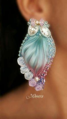 Shibori silk earrings by Mhoara