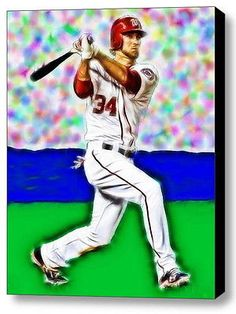 Framed 9X11 Nationals Bryce Harper Connects Limited Edition Art Print w/COA