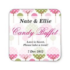 Pink and Green trees candy buffet stickers. #weddings #showers