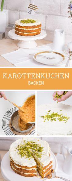 Klassischen Möhrenkuchen backen, Rezept für Ostern / Easter recipe: carrot cake with different layers and frosting via DaWanda.com
