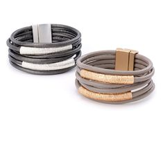 grey or taupe leather multi strand bracelet   multi strand wrap leather bracelet with silver or gold center tubes, affordable and unique.  Magnetic closure.