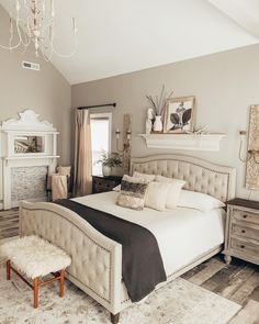 What a fabulous, serene master bedroom retreat! Loads of cozy southern charm, pretty shades of neutral, and our Ornate Sconces for gorgeous rustic chic ambient lighting too. Bedroom Makeover, Home Bedroom, Bedroom Diy, Home Decor, Bedroom Inspirations, Farmhouse Bedroom Decor, Remodel Bedroom, Master Bedroom Retreat, Master Bedroom Makeover