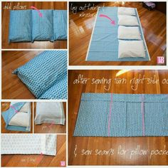 Sewing Pillows - Don't spend a fortune on a portable bed. Sew 5 pillow cases together, insert the pillows and you have a Sewing Pillows, Diy Pillows, Cushions, Sewing Hacks, Sewing Projects, Diy Projects, Baby Sewing, Free Sewing, Sewing Diy