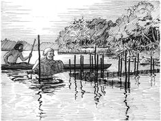 Men setting up fish traps in Mesolithic Ertebølle by Flemming Bau