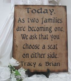 Wedding Sign Rustic Directional Two Families by dlightfuldesigns, $48.00
