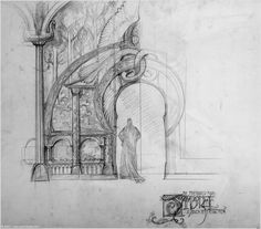 Rivendell facade by John Howe (concept for The LotR movie)