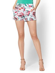 Floral 4 Inch Short - Signature - Avenue - New York & Company 7 Avenue, Your Perfect, Grosgrain, Boho Shorts, Gym Shorts Womens, Floral Prints, New York, My Style, Cotton