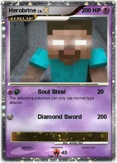 Minecraft Cards to Print   Minecraft Herobrine Pokemon Cards Printable