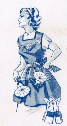 Vintage 1950s Laura Wheeler 797 Sewing Pattern and Applique Transfer Apron and Potholder.  This is quite a remarkable apron pattern, with a morning glory theme.  Large morning glory serves as pocket on skirt, and don't forget that matching morning glory pot holder!