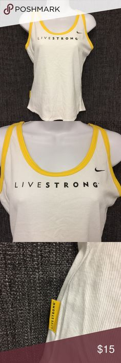 "Nike Livestrong Womens sleeveless t-shirt size S Nike Livestrong Womens Workout sleeveless Tank Top size S Length~ 20 1/2"" Shoulder~ 6"" Chest~ 16"" Hem~ 16""  Condition Excellent Questions are welcome! Fast Shipping from a smoke-free pet free home. Nike Tops Tank Tops"