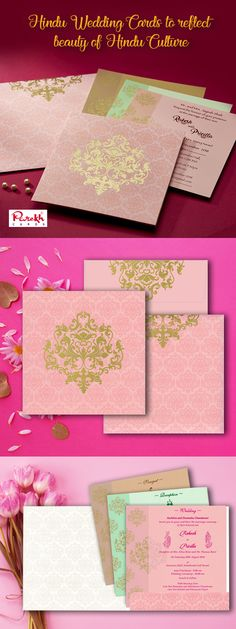 Hindu wedding rituals are sacred, sentimental and full of hearts beauty. Amplify this beauty with Hindu Wedding Cards commencing the prosperous life journey with all its glory. This invitation card is made out of fine quality card paper board with matching mailing envelope. Card front has beautiful Gold Paisley design with similar imprint all over. The card has 3 different color insert option inside.
