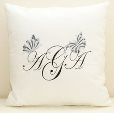 Monogrammed personalized cushion. Butterflies embroidery pillow.