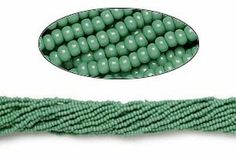 Seed bead, Preciosa Czech glass, opaque green, #11. Sold per pkg of 1 hank. #seed #beads #DIY #birthdayparties #fun