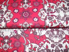 Stoff retro - Baumwolle Retro Ornamente rot marsala weiß - ein Designerstück von…