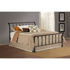 41b08a67c81da  Overstock - Janis Textured Black Bed Set - The Janis bed s flared spindle  headboard and