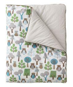 This 33'' x 42'' Green & Blue Owls Play Blanket by DwellStudio is perfect! #zulilyfinds