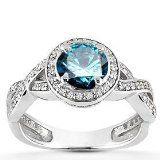 1.00CT Pave Halo Blue Diamond Engagement Ring 14K White Gold