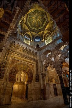 LA MEZQUITA, Cordoba, Andalusia, Spain - Once it was a Muslim Mosque, and now has a Cathedral built inside it. It still has much of its Spanish Muslim architecture. Enjoy the Courtyard of the Orange Trees with its refreshing fragrance too. Architecture Antique, Islamic Architecture, Amazing Architecture, Art And Architecture, Malaga, Cordoba Andalucia, Andalusia Spain, Spain And Portugal, Place Of Worship