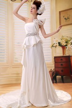 Ruched/Crystals/Flowers/Buttons Zipper White Train One Floor-length Sleeveless Shouler Chapel A-line Satin Natural Elegant Wedding Dress