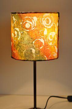 Lamp shade Yellow Orange Green Hand Painted Silk by HaniH on Etsy.
