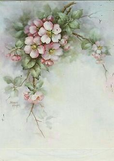 Apple Blossoms 52 by Sonie Ames China Painting Study 1972 Art Floral, Floral Prints, China Painting, Tole Painting, Fabric Painting, Illustration Blume, Egg Art, Decoupage Paper, Painting Patterns