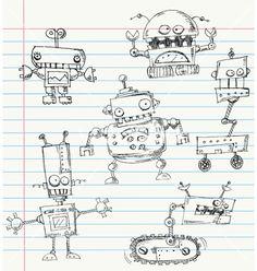 Robot doodles vector on VectorStock&reg