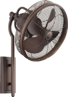 Quorum International 92413 Veranda 4 Blade Wall Mount Patio Fan Oiled Bronze Fans Wall Mount Fans Wall Mount Fans