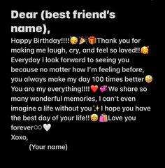 Happy Birthday Bestie Quotes, Happy Birthday Posters, Besties Quotes, Happy Birthday Captions, Happy Birthday Template, Best Lyrics Quotes, Real Friendship Quotes, Instagram Quotes, Happy Birthday Paragraph