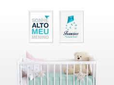 Quadro sonhe alto meu menino e pipa - Ideiative para Amar e Decorar Toddler Bed, Babys, Furniture, Home Decor, Hooks For Hanging, White Wood, Dream Big, Basic Colors, Bedroom Frames