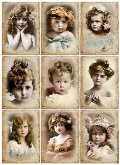 Vintage Victorian girls and babies - free printable Decoupage Vintage, Éphémères Vintage, Images Vintage, Photo Vintage, Vintage Labels, Vintage Ephemera, Vintage Girls, Vintage Pictures, Vintage Photographs
