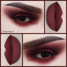 #Monochromatic Brick Red .. Lips - @doseofcolors Brick Liquid Matte. Eyes - @shopvioletvoss Big Apple Pigment, Copperella Glitter, and @sugarpill Love + Eyeshadow. Brushes - @sigmabeauty .. Lashes - Bisera by @lashesbylena .. @thekatvond Tattoo Brow (all 4 shades).