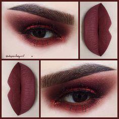 #Monochromatic Brick Red .. Lips - @doseofcolors Brick Liquid Matte. Eyes - @shopvioletvoss Big Apple Pigment, Copperella Glitter, and @sugarpill Love + Eyeshadow. Brushes - @sigmabeauty .. Lashes - Bisera by @lashesbylena .. @thekatvond Tattoo Brow (all 4 shades).