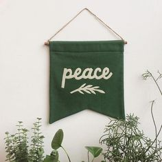 PEACE Banner / affirmation banner wall hanging, cotton wall flag, handmade, heirloom, vintage-look Ashley Brown, Christmas Banners, Christmas Diy, Xmas, Diy Banner, Pennant Banners, Merry And Bright, Winter Holidays, Wool Felt