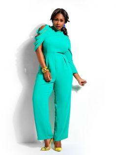 """Destiny"" High Neck Jumpsuit -Emerald - Clothing - Monif C"