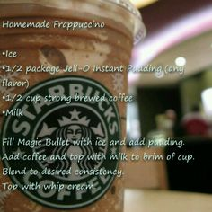 Magic Bullet Starbucks Frappuccino A recipe for my hubby. Add chocolate chips or Oreos and he would love this! Café Starbucks, Bebidas Do Starbucks, Starbucks Frappuccino, Starbucks Vanilla, Magic Bullet Smoothies, Magic Bullet Recipes, Blender Recipes, Smoothie Recipes, Yummy Recipes