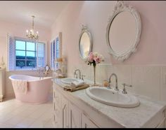 Inspiration from Bathrooms.com: Pastel shabby chic bathroom