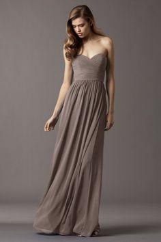 Watters Bridesmaids--Pine Dress in Stone Sweetheart draped bodice Floor-length crinkle chiffon <3