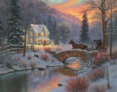 Home for Christmas by Mark Keathley ~ winter country house aglow sunset stone bridge stream horse-drawn carriage