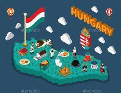 Hungary Isometric Touristic Map