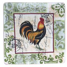 @Overstock - This 14.5-inch square platter features a country-style rooster print. This attractive, functional dinnerware allows you to create a stylish table presentation with coordinating kitchen accessories.http://www.overstock.com/Home-Garden/Certified-International-Lille-Rooster-14.5-inch-Square-Platter/6053580/product.html?CID=214117 $36.99