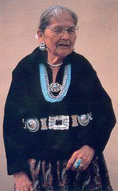 A Lovely Navajo Lady All Decked Out In Her Turquoise ~ 1994