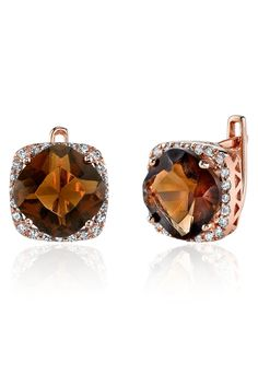 14K Rose Gold Smoky Topaz & Crystal Leverback Earrings.