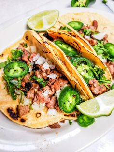 Mojo marinated steak tacos burst with flavor in each bite and completely melt in your mouth.These steak tacos won't disappoint! Best Mexican Recipes, Mexican Food Recipes, Ethnic Recipes, Mexican Dishes, Mexican Meals, Healthy Recipes, Mexican Stuff, Mexican Night, Simple Recipes