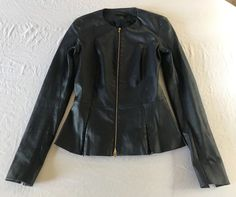 ~$3K THE ROW NAVY LAMBSKIN LEATHER ZIP UP JACKET (FOREVER CHIC!) ~  2 #THEROW #JACKET