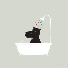 """The Happy Shower"" Art Print by GretaZserbo on Society6."
